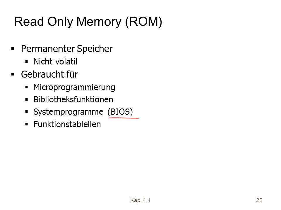 Kap. 4.122 Read Only Memory (ROM) Permanenter Speicher Nicht volatil Gebraucht für Microprogrammierung Bibliotheksfunktionen Systemprogramme (BIOS) Fu