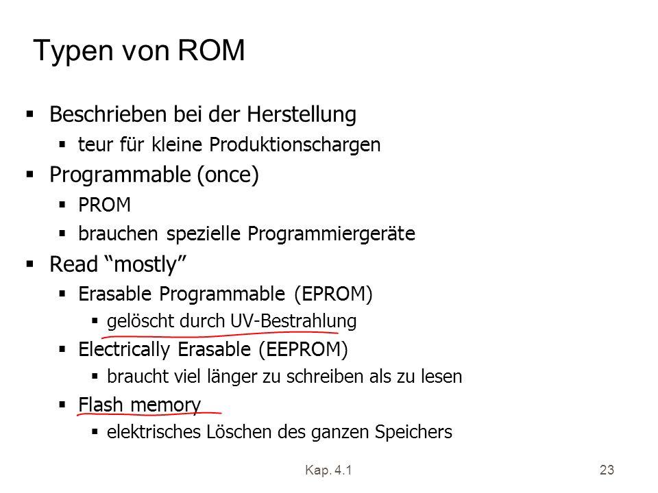 Kap. 4.123 Typen von ROM Beschrieben bei der Herstellung teur für kleine Produktionschargen Programmable (once) PROM brauchen spezielle Programmierger
