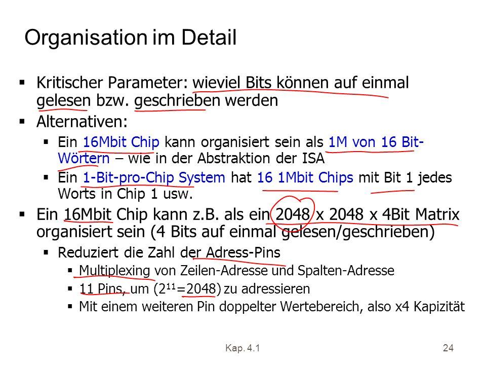 Kap. 4.124 Organisation im Detail Kritischer Parameter: wieviel Bits können auf einmal gelesen bzw. geschrieben werden Alternativen: Ein 16Mbit Chip k