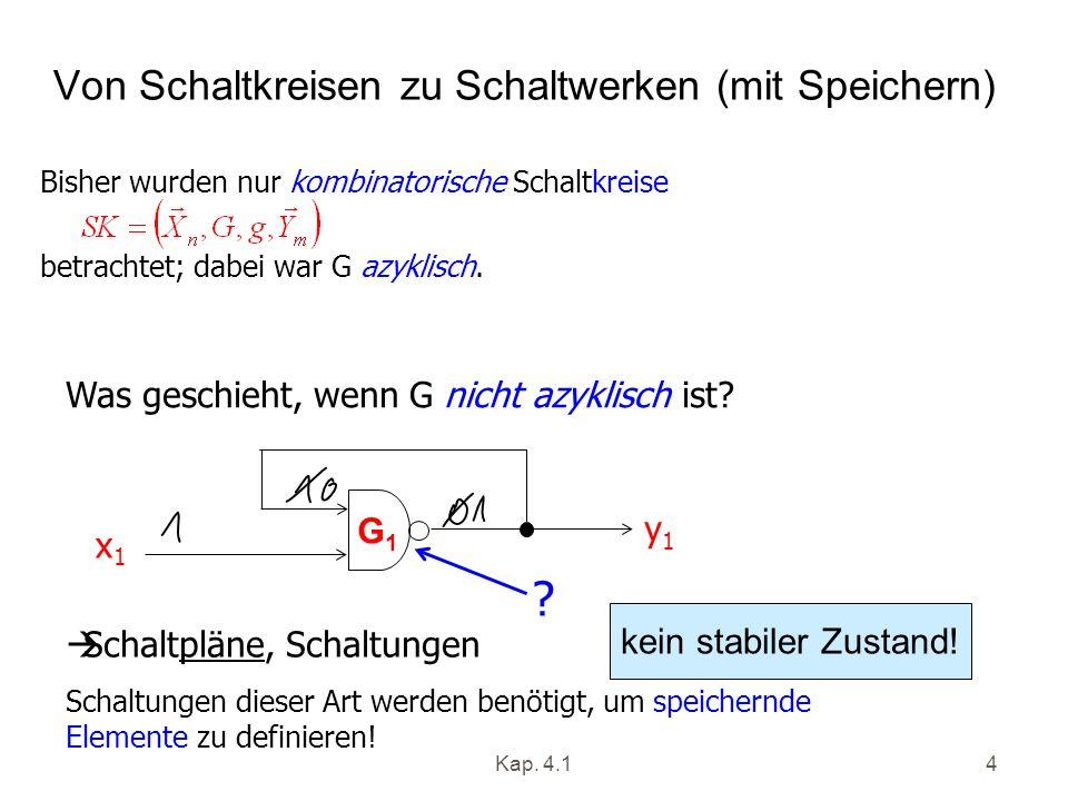 Kap. 4.14 Von Schaltkreisen zu Schaltwerken (mit Speichern) Bisher wurden nur kombinatorische Schaltkreise betrachtet; dabei war G azyklisch. Schaltpl