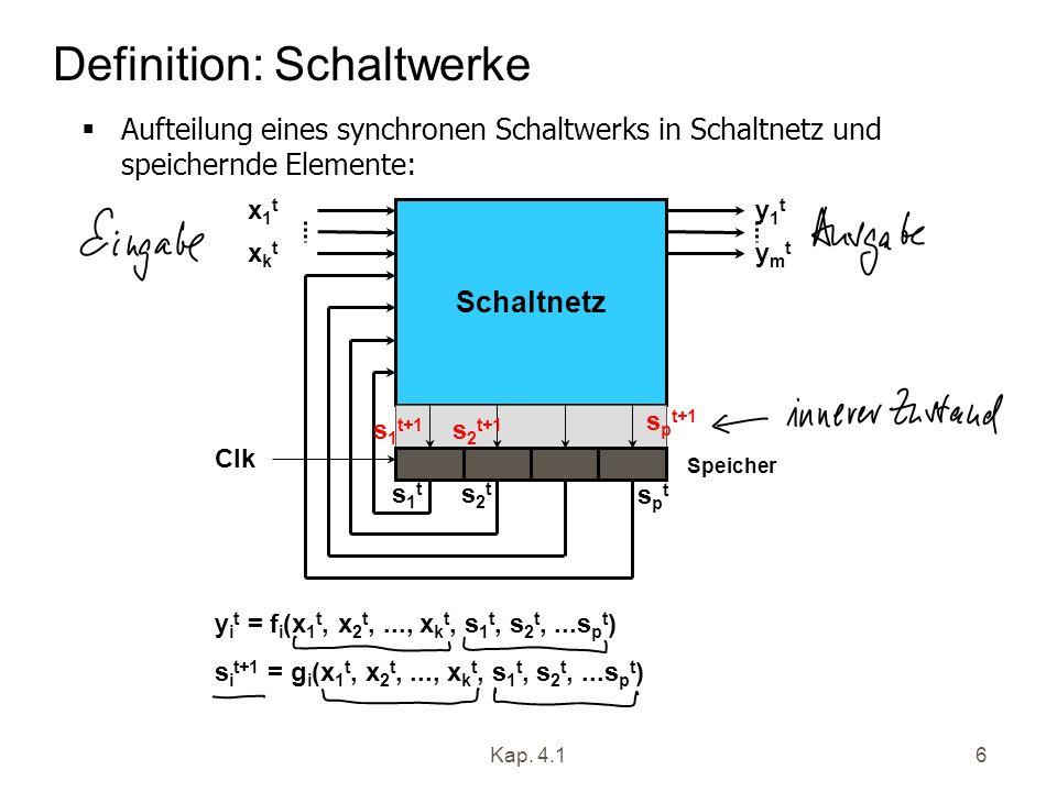 Kap. 4.16 Definition: Schaltwerke Aufteilung eines synchronen Schaltwerks in Schaltnetz und speichernde Elemente: y i t = f i (x 1 t, x 2 t,..., x k t