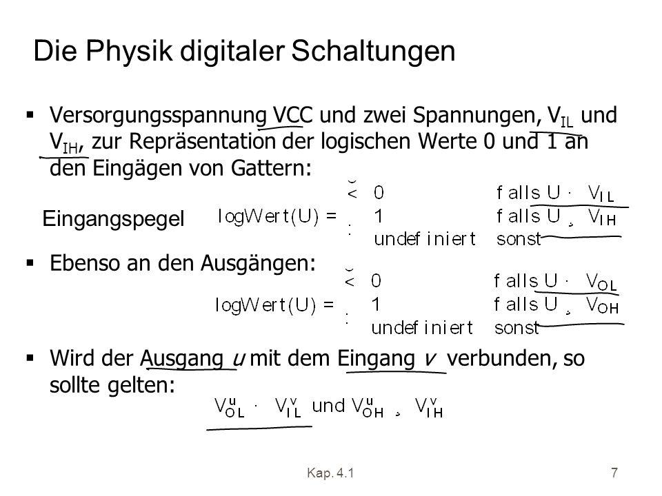 Kap. 4.17 Die Physik digitaler Schaltungen Versorgungsspannung VCC und zwei Spannungen, V IL und V IH, zur Repräsentation der logischen Werte 0 und 1
