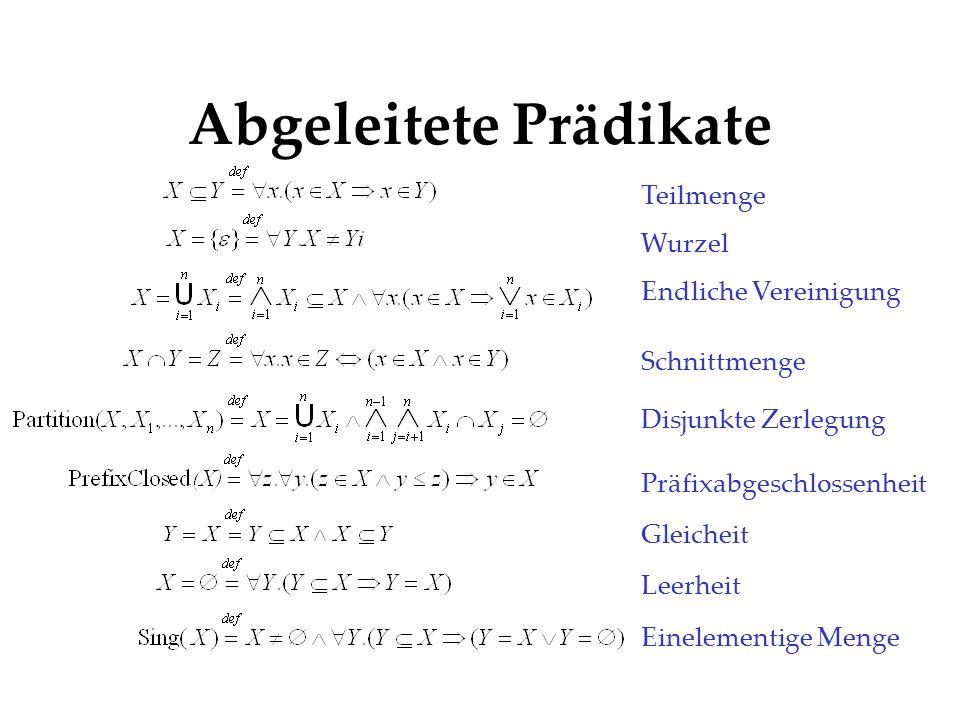 Abgeleitete Prädikate Teilmenge Wurzel Endliche Vereinigung Schnittmenge Disjunkte Zerlegung Präfixabgeschlossenheit Gleicheit Leerheit Einelementige