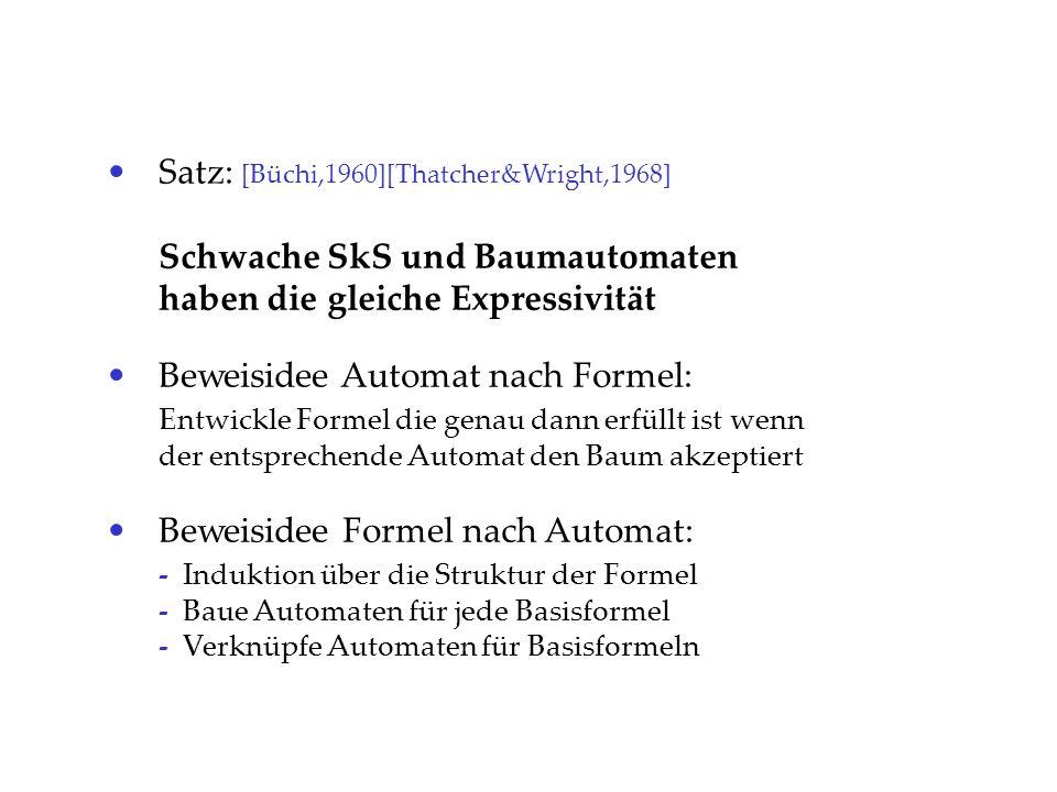 Satz: [Büchi,1960][Thatcher&Wright,1968] Schwache SkS und Baumautomaten haben die gleiche Expressivität Beweisidee Automat nach Formel: Entwickle Form