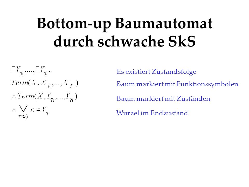 Bottom-up Baumautomat durch schwache SkS Es existiert Zustandsfolge Baum markiert mit Funktionssymbolen Baum markiert mit Zuständen Wurzel im Endzusta