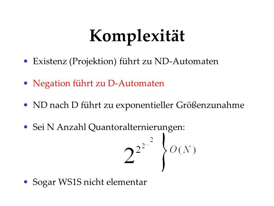 Komplexität Existenz (Projektion) führt zu ND-Automaten Negation führt zu D-Automaten ND nach D führt zu exponentieller Größenzunahme Sei N Anzahl Qua