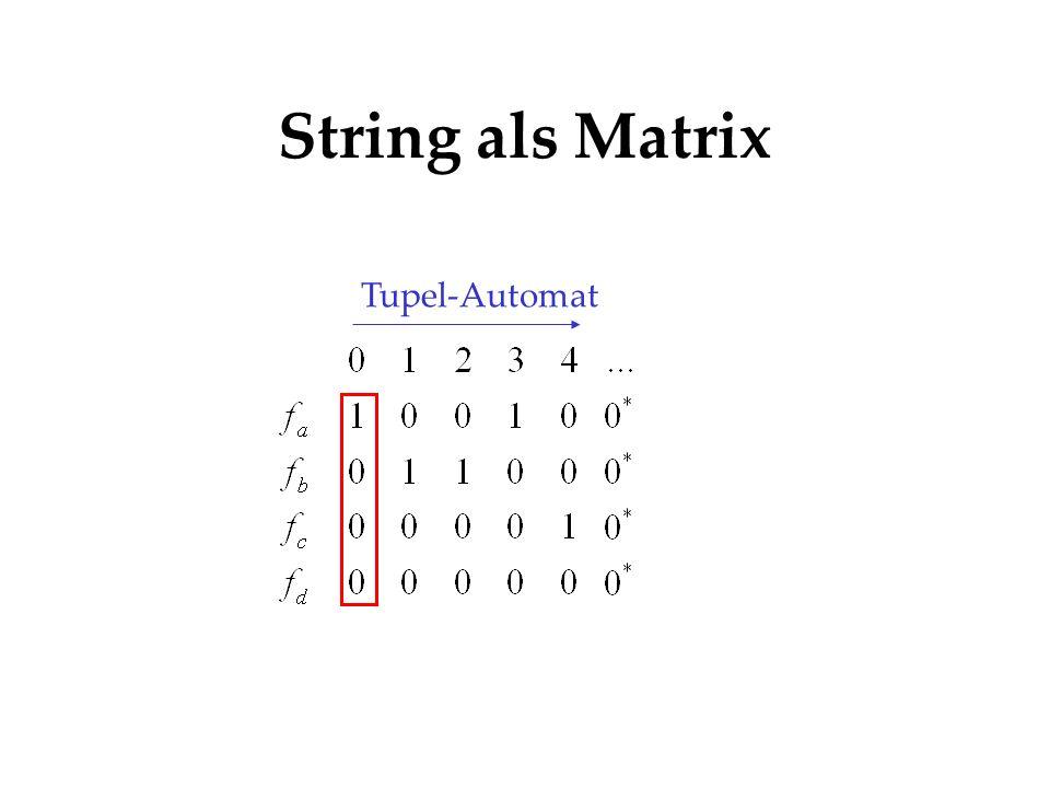 String als Matrix Tupel-Automat Logik * * * * 0 0 0 0...