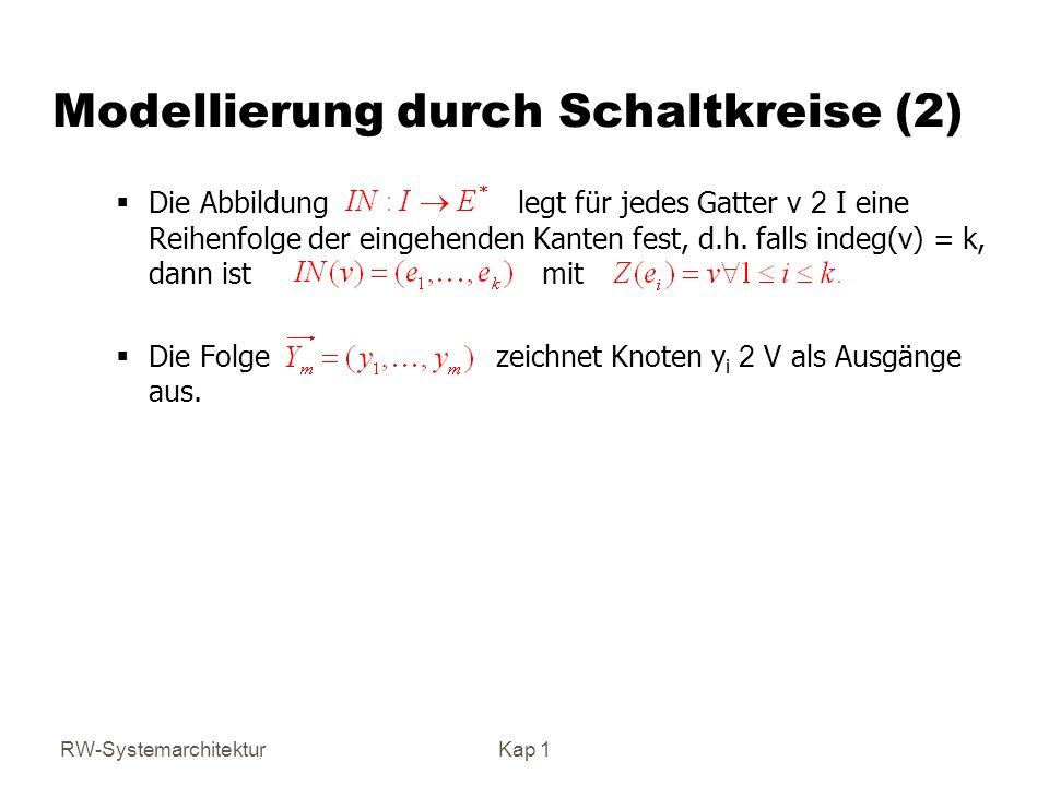 RW-SystemarchitekturKap 1 Modellierung durch Schaltkreise (2) Die Abbildung legt für jedes Gatter v 2 I eine Reihenfolge der eingehenden Kanten fest, d.h.