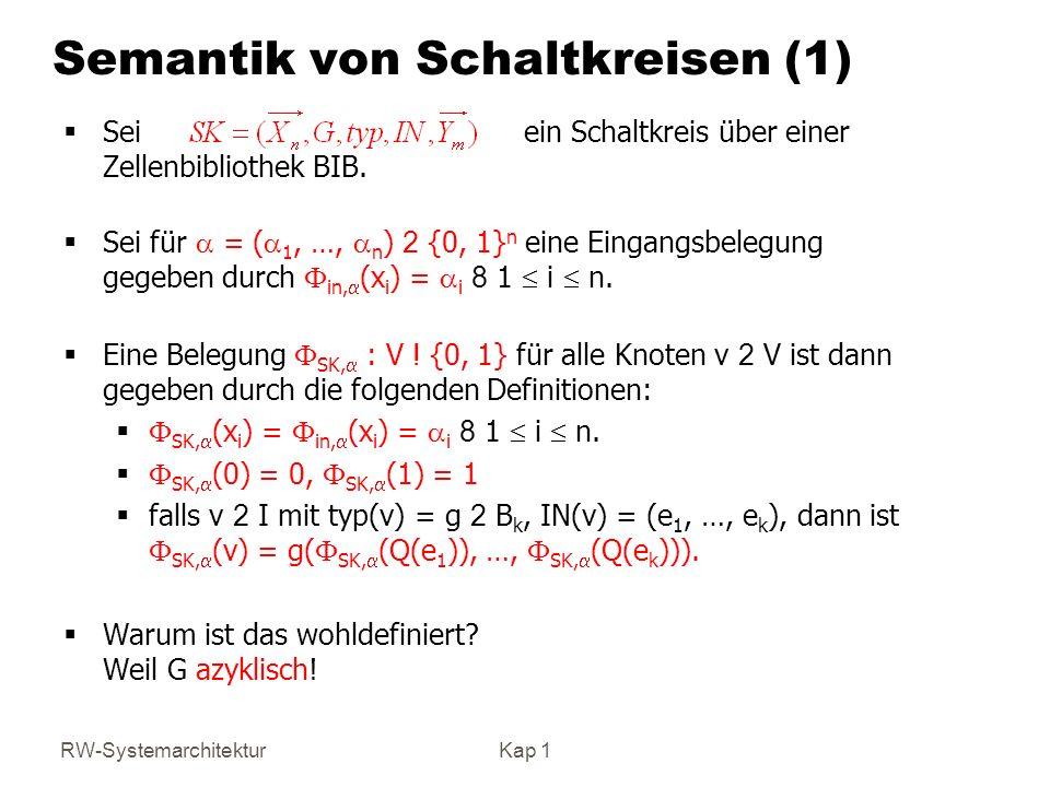 RW-SystemarchitekturKap 1 Semantik von Schaltkreisen (1) Sei ein Schaltkreis über einer Zellenbibliothek BIB. Sei für = ( 1, …, n ) 2 {0, 1} n eine Ei