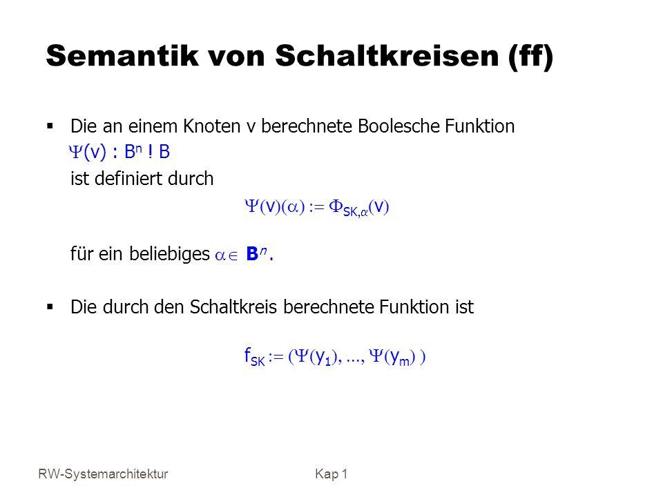 RW-SystemarchitekturKap 1 Semantik von Schaltkreisen (ff) Die an einem Knoten v berechnete Boolesche Funktion (v) : B n ! B ist definiert durch v SK v