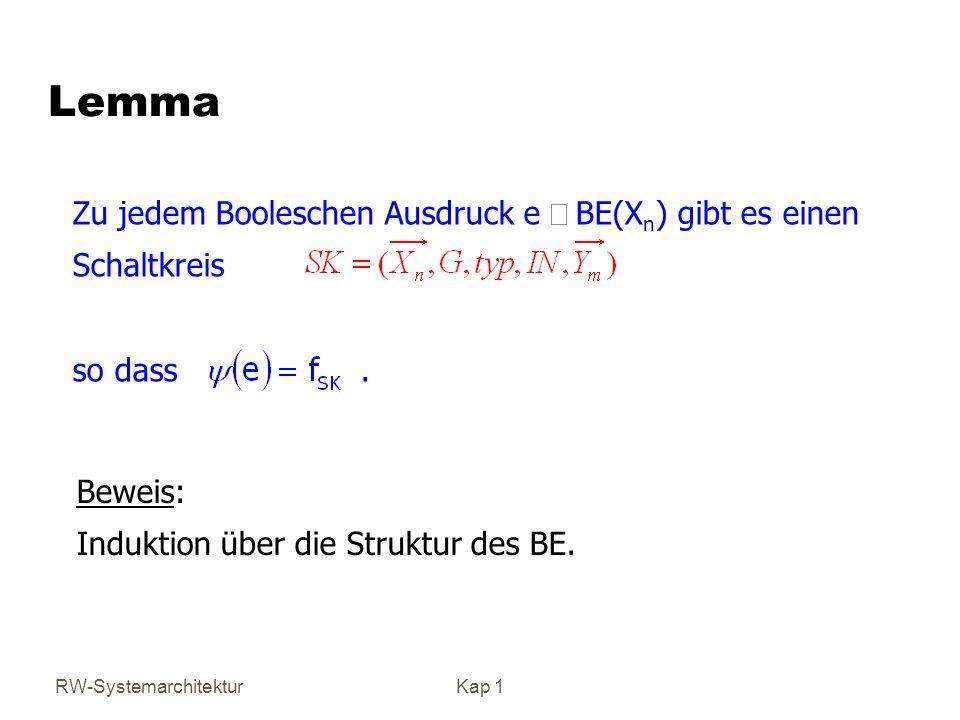 RW-SystemarchitekturKap 1 Zu jedem Booleschen Ausdruck e BE(X n ) gibt es einen Schaltkreis so dass. Lemma Beweis: Induktion über die Struktur des BE.