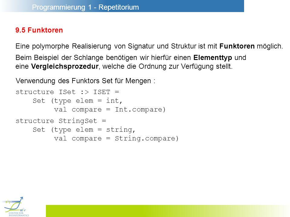 Programmierung 1 - Repetitorium 9.5 Funktoren Eine polymorphe Realisierung von Signatur und Struktur ist mit Funktoren möglich. Beim Beispiel der Schl