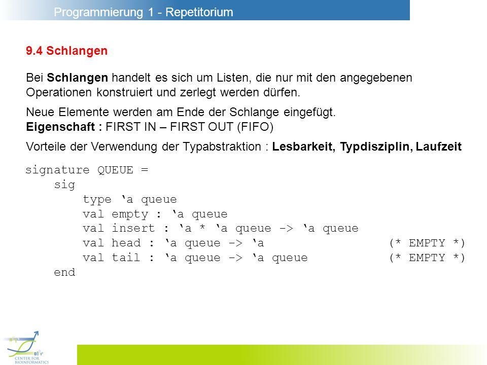 Programmierung 1 - Repetitorium 9.4 Schlangen Bei Schlangen handelt es sich um Listen, die nur mit den angegebenen Operationen konstruiert und zerlegt