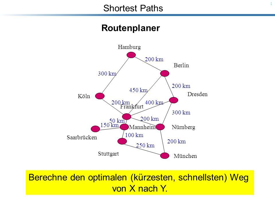 Shortest Paths 22 Wir betrachten den Zeitpunkt, zu dem Knoten u in S eingefügt wurde: Es gilt: u s und S.