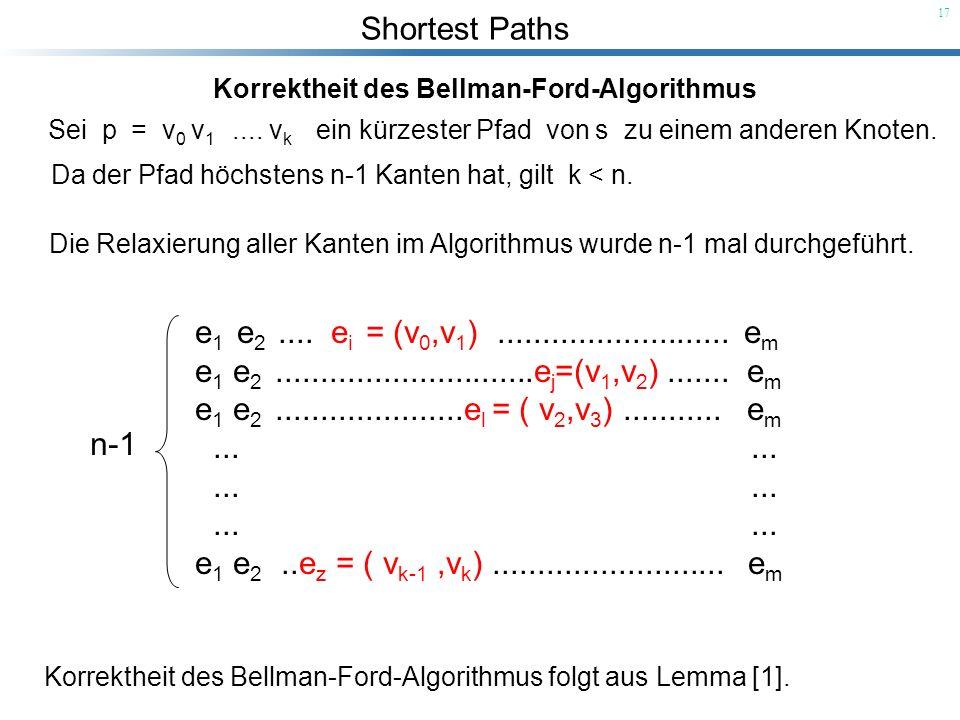 Shortest Paths 17 Korrektheit des Bellman-Ford-Algorithmus Sei p = v 0 v 1.... v k ein kürzester Pfad von s zu einem anderen Knoten. Da der Pfad höchs