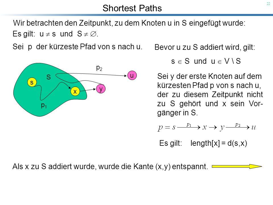 Shortest Paths 22 Wir betrachten den Zeitpunkt, zu dem Knoten u in S eingefügt wurde: Es gilt: u s und S. Sei y der erste Knoten auf dem kürzesten Pfa