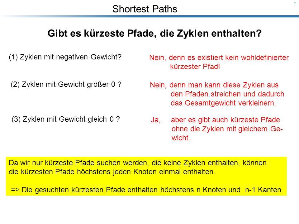 Shortest Paths 7 Gibt es kürzeste Pfade, die Zyklen enthalten? (1) Zyklen mit negativen Gewicht? Nein, denn es existiert kein wohldefinierter kürzeste