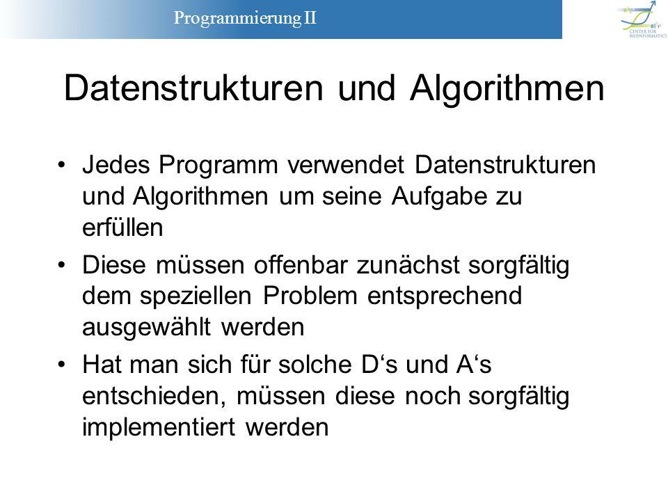 Programmierung II 2 Zur Beschreibung und Implementierung der Datenstrukturen und Algorithmen verwenden wir hier C++ Formulierung von Datenstrukturen als Objekte, Algorithmen als Funktionen Saubere Schnittstellenspezifikation und Klassendesign ist mindestens genauso wichtig wie die eigentliche Implementierung Der Berufsalltag der meisten Informatiker besteht weit häufiger aus dem Entwickeln solcher Spezifikationen als aus dem Schreiben von Programmcode