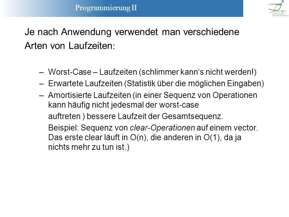 Programmierung II Je nach Anwendung verwendet man verschiedene Arten von Laufzeiten : –Worst-Case – Laufzeiten (schlimmer kanns nicht werden!) –Erwart