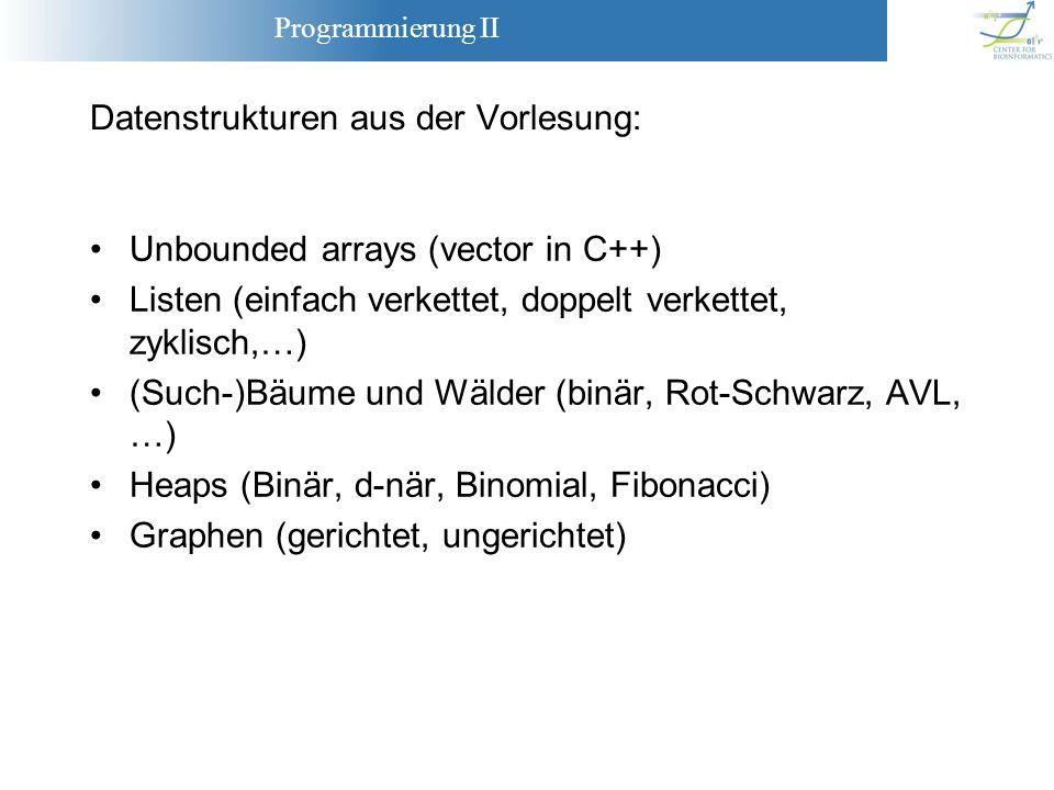 Programmierung II Datenstrukturen aus der Vorlesung: Unbounded arrays (vector in C++) Listen (einfach verkettet, doppelt verkettet, zyklisch,…) (Such-