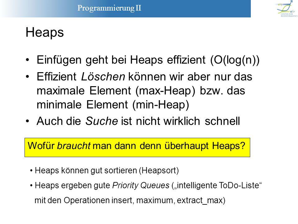 Programmierung II Einfügen geht bei Heaps effizient (O(log(n)) Effizient Löschen können wir aber nur das maximale Element (max-Heap) bzw. das minimale