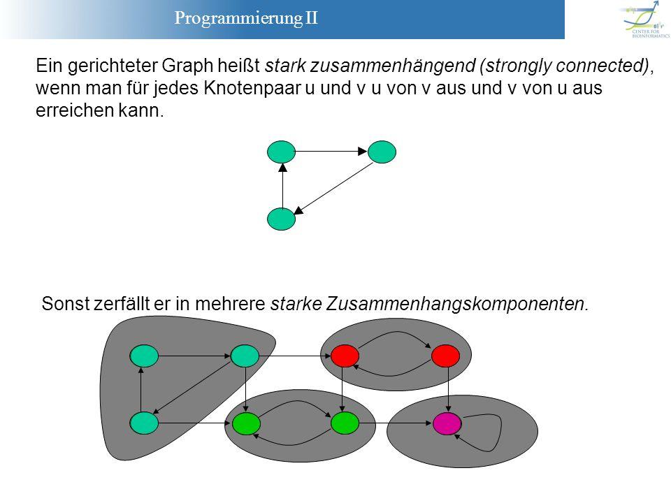 Programmierung II Ein gerichteter Graph heißt stark zusammenhängend (strongly connected), wenn man für jedes Knotenpaar u und v u von v aus und v von