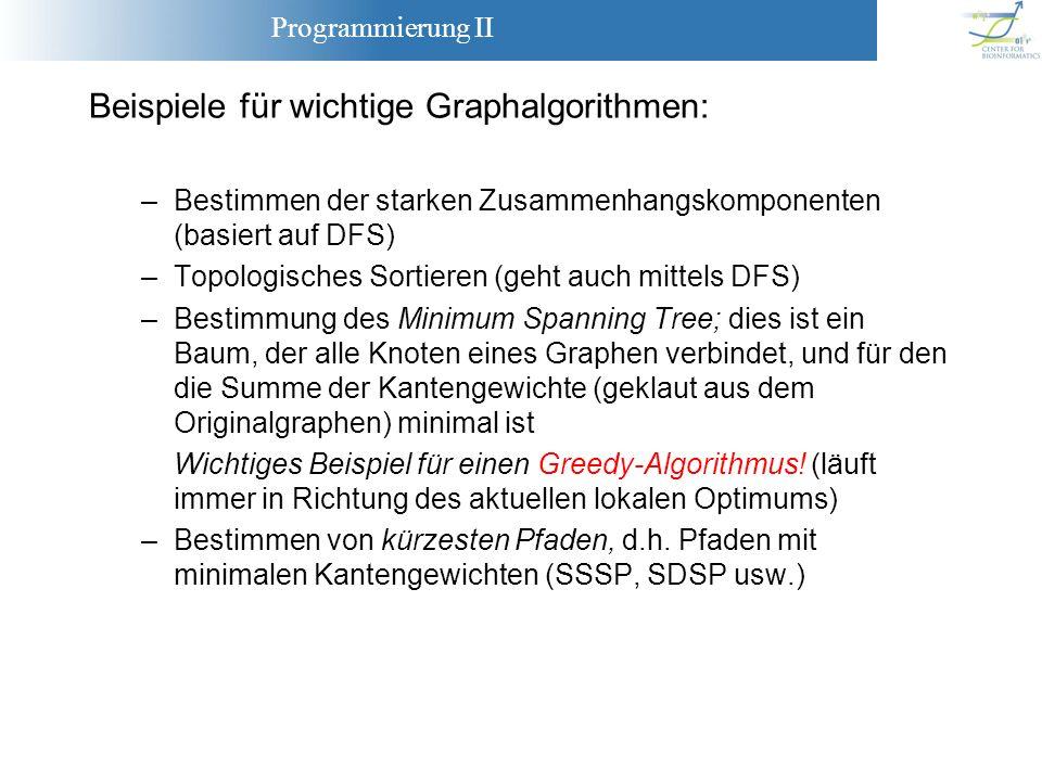 Programmierung II Beispiele für wichtige Graphalgorithmen: –Bestimmen der starken Zusammenhangskomponenten (basiert auf DFS) –Topologisches Sortieren