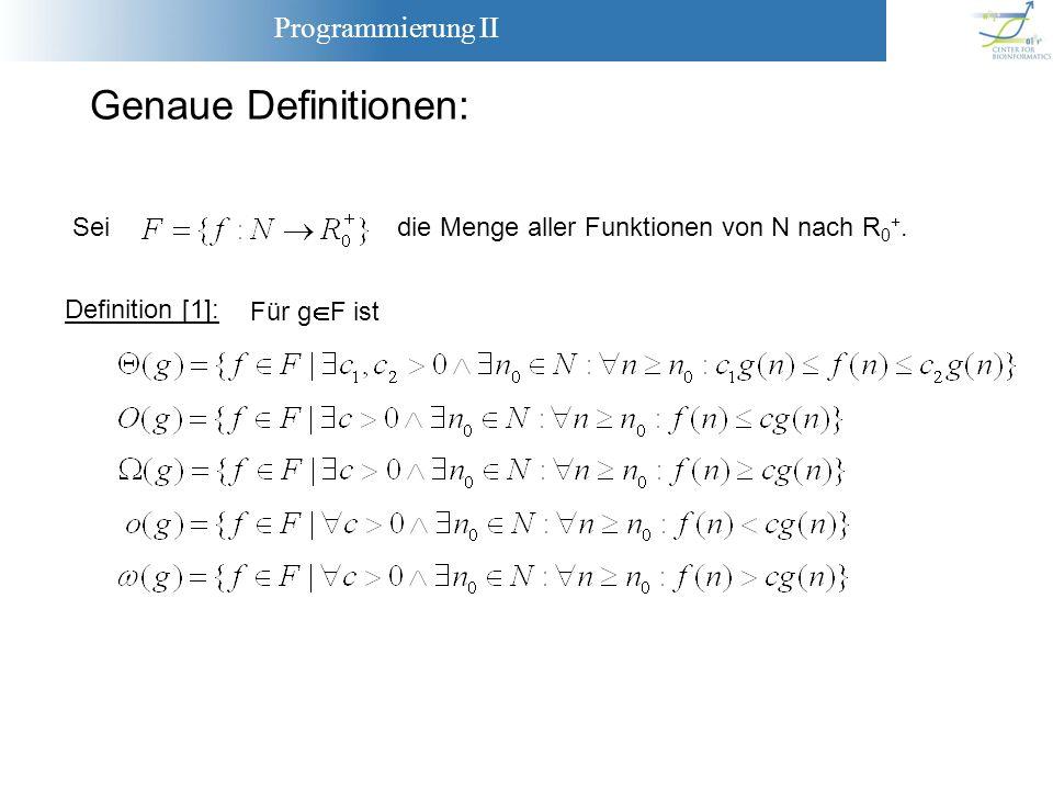 Programmierung II Genaue Definitionen: Definition [1]: Für g F ist Seidie Menge aller Funktionen von N nach R 0 +.