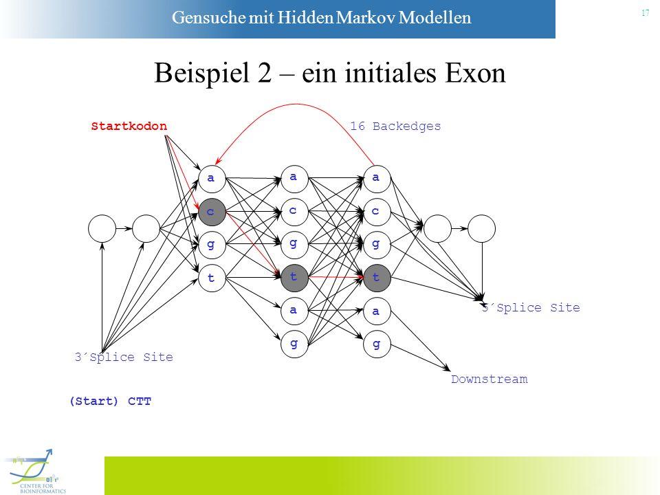Gensuche mit Hidden Markov Modellen 16 Beispiel 1 – ein 1-Exon Gen Startkodon a c g t a c g t a g a c g t a g 3´Splice Site Downstream 5´Splice Site 1