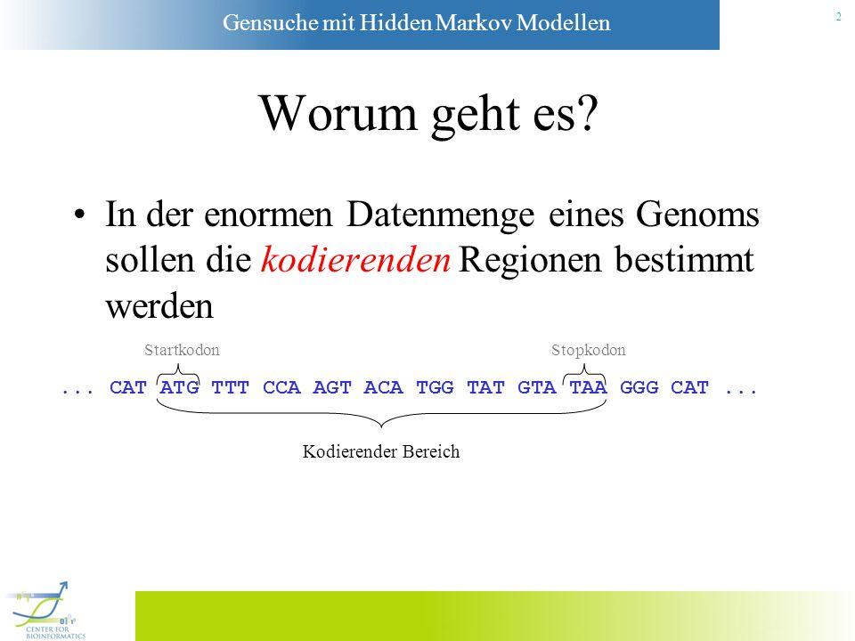 Gensuche mit Hidden Markov Modellen 22 Der EM-Algorithmus 1.Klassifiziere eine bekannte Sequenz s 1 vom Typ M mit dem HMM.