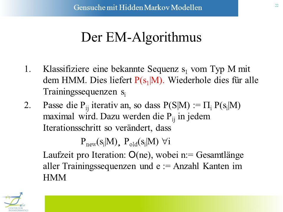 Gensuche mit Hidden Markov Modellen 21 Das Training des Modells Die Topologie des HMM ist nun bekannt. Es fehlen nur noch die Übergangswahrscheinlichk