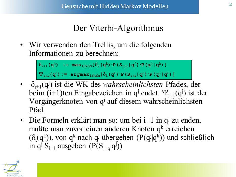 Gensuche mit Hidden Markov Modellen 24 Der Viterbi-Algorithmus Um die Laufzeit zu reduzieren, verwendet man einen Algorithmus, der an dynamische Progr