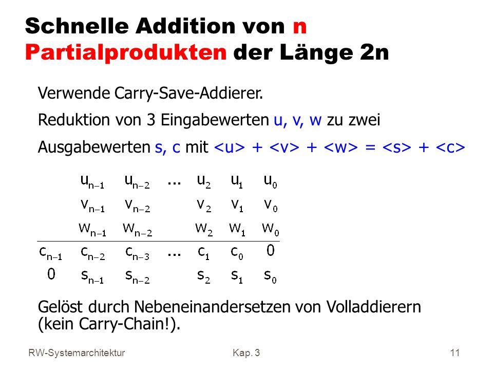RW-SystemarchitekturKap. 311 Schnelle Addition von n Partialprodukten der Länge 2n Verwende Carry-Save-Addierer. Reduktion von 3 Eingabewerten u, v, w