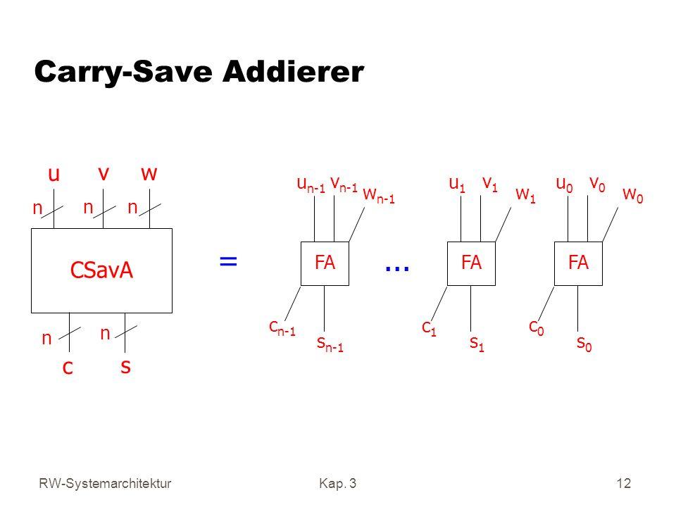 RW-SystemarchitekturKap. 312 Carry-Save Addierer CSavA u v w c s n nn n n FA u1u1 v1v1 w1w1 s1s1 c1c1 u0u0 v0v0 w0w0 s0s0 c0c0 u n-1 v n-1 w n-1 s n-1