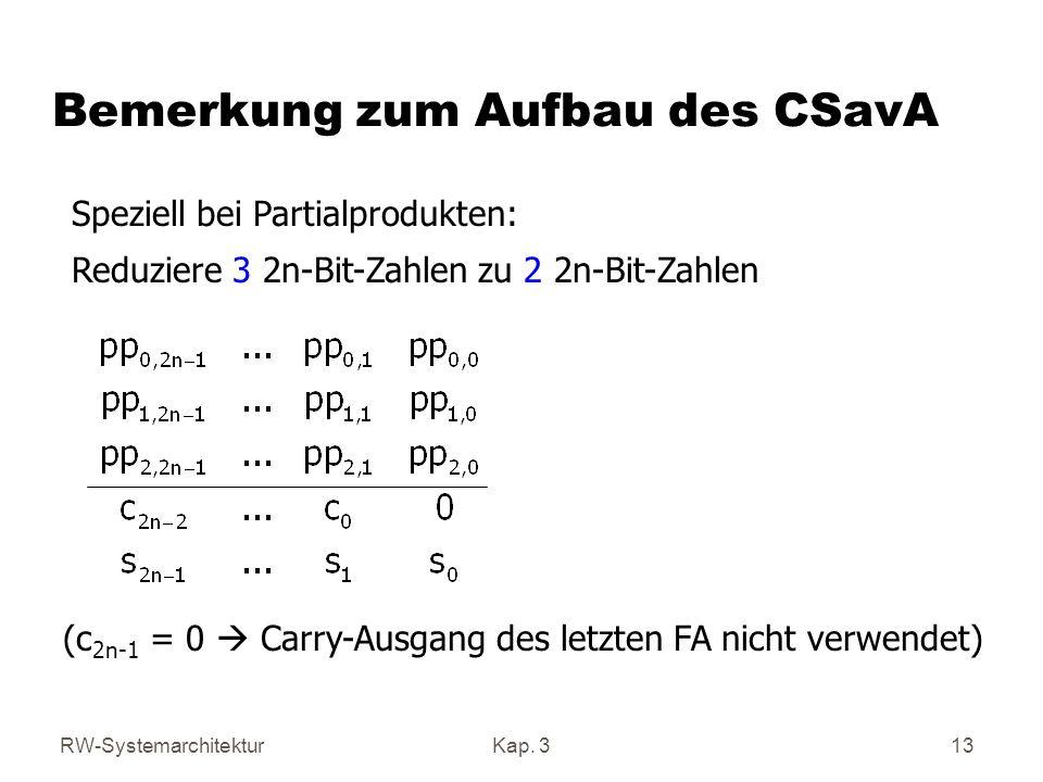 RW-SystemarchitekturKap. 313 Bemerkung zum Aufbau des CSavA Speziell bei Partialprodukten: Reduziere 3 2n-Bit-Zahlen zu 2 2n-Bit-Zahlen (c 2n-1 = 0 Ca