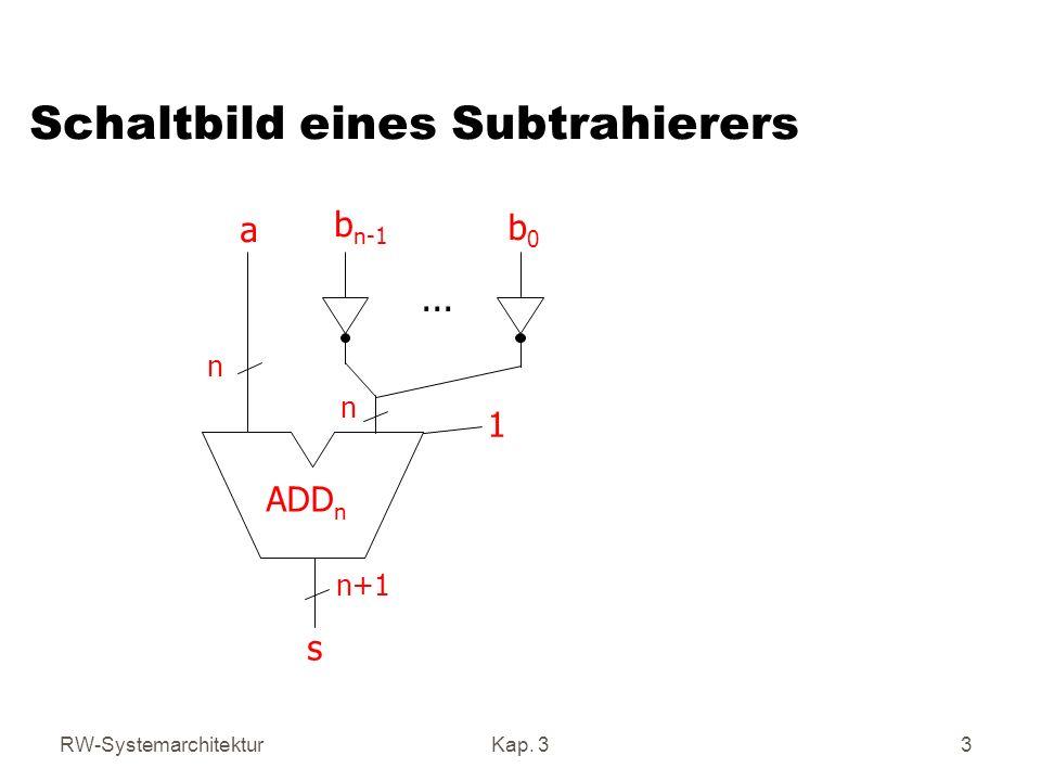 RW-SystemarchitekturKap. 33 Schaltbild eines Subtrahierers ADD n a b n-1 b0b0... 1 s n+1 n n