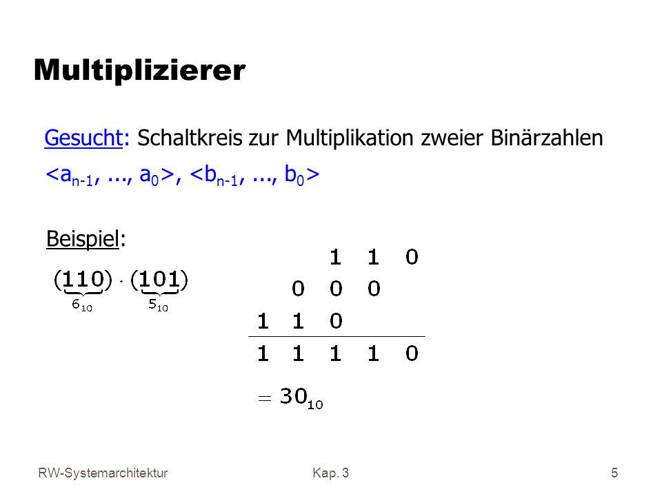RW-SystemarchitekturKap. 35 Multiplizierer Gesucht: Schaltkreis zur Multiplikation zweier Binärzahlen, Beispiel: