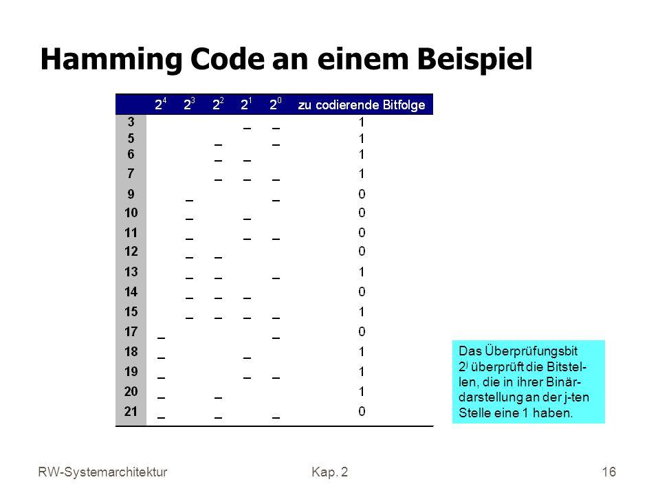 RW-SystemarchitekturKap. 2 16 Hamming Code an einem Beispiel Das Überprüfungsbit 2 j überprüft die Bitstel- len, die in ihrer Binär- darstellung an de