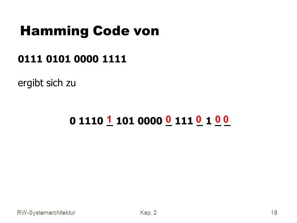 RW-SystemarchitekturKap. 2 18 Hamming Code von 0111 0101 0000 1111 ergibt sich zu 0 1110 _ 101 0000 _ 111 _ 1 _ _ 1 0 0 0 0