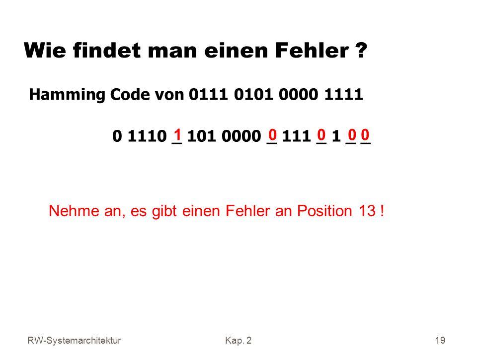 RW-SystemarchitekturKap. 2 19 Hamming Code von 0111 0101 0000 1111 0 1110 _ 101 0000 _ 111 _ 1 _ _ 1 0 0 0 0 Nehme an, es gibt einen Fehler an Positio