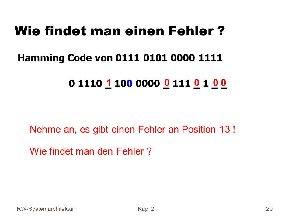 RW-SystemarchitekturKap. 2 20 1 0 0 0 0 Hamming Code von 0111 0101 0000 1111 0 1110 _ 100 0000 _ 111 _ 1 _ _ Nehme an, es gibt einen Fehler an Positio