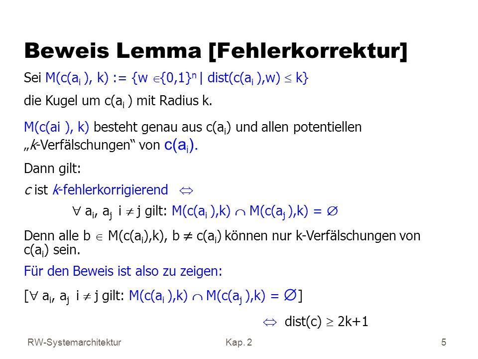 RW-SystemarchitekturKap. 2 5 Beweis Lemma [Fehlerkorrektur] Sei M(c(a i ), k) := {w {0,1} n   dist(c(a i ),w) k} die Kugel um c(a i ) mit Radius k. M(