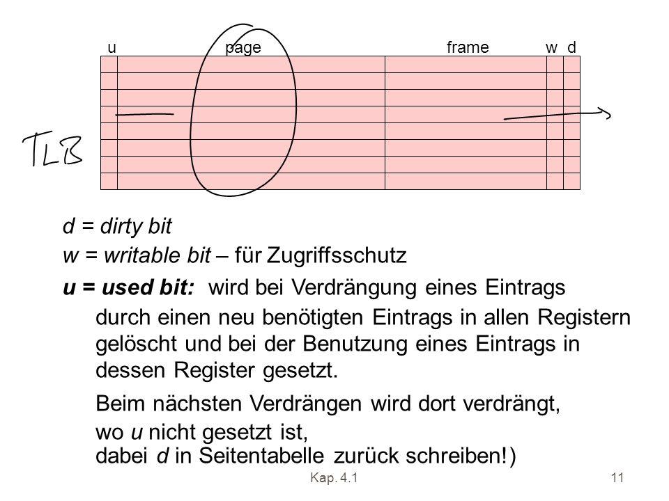 Kap. 4.111 u page frame w d d = dirty bit w = writable bit – für Zugriffsschutz u = used bit: wird bei Verdrängung eines Eintrags durch einen neu benö