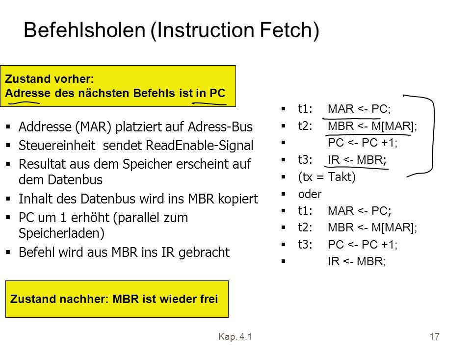 Kap. 4.117 Befehlsholen (Instruction Fetch) Addresse (MAR) platziert auf Adress-Bus Steuereinheit sendet ReadEnable-Signal Resultat aus dem Speicher e