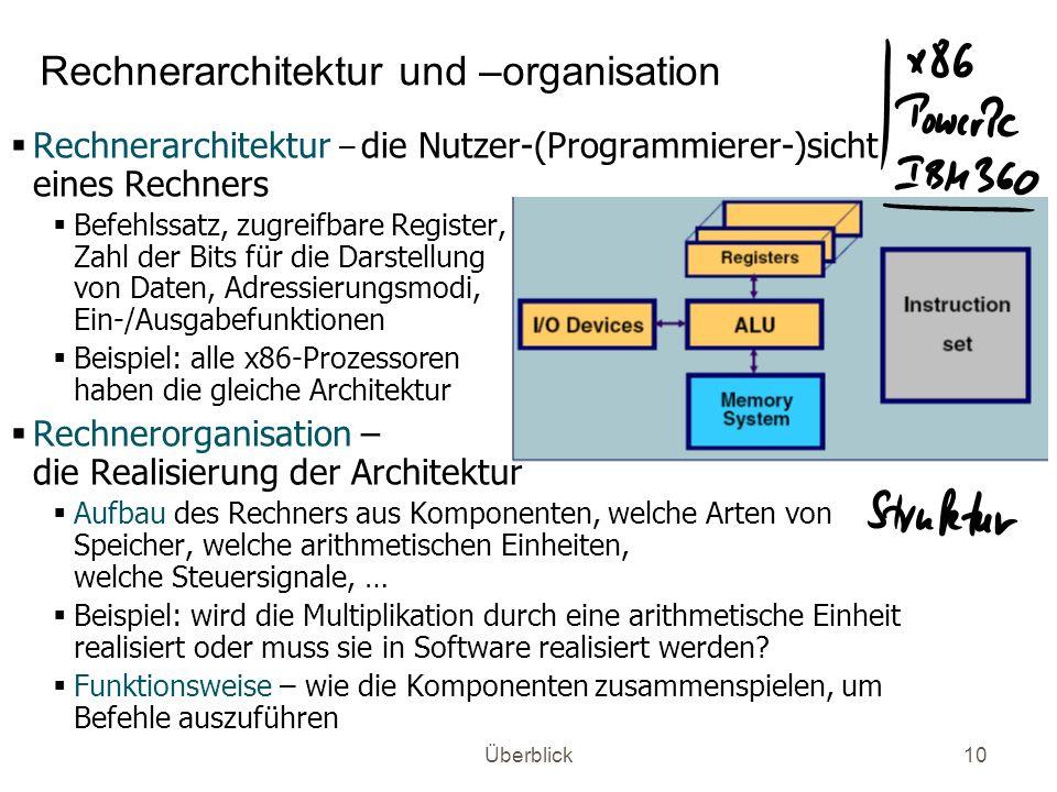 Überblick10 Rechnerarchitektur und –organisation Rechnerarchitektur – die Nutzer-(Programmierer-)sicht eines Rechners Befehlssatz, zugreifbare Registe