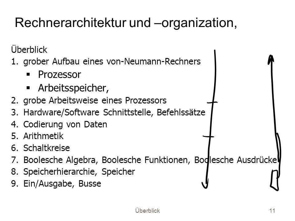 Überblick11 Rechnerarchitektur und –organization, Überblick 1.grober Aufbau eines von-Neumann-Rechners Prozessor Arbeitsspeicher, 2.grobe Arbeitsweise