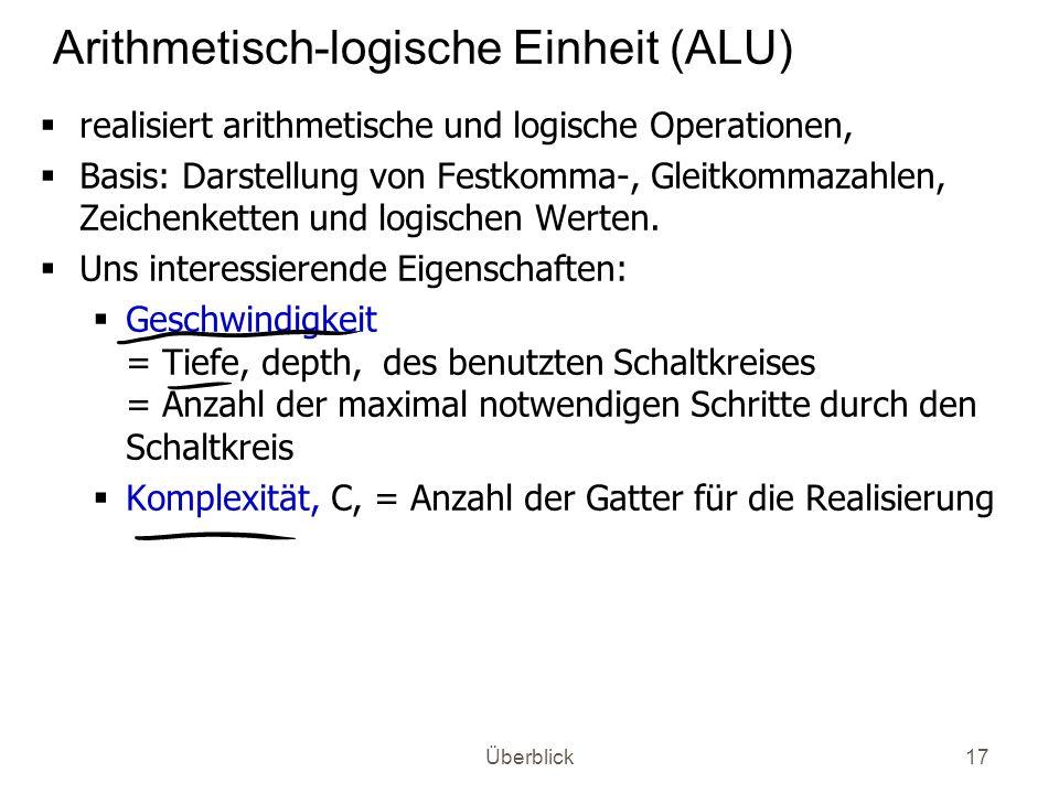 Überblick17 Arithmetisch-logische Einheit (ALU) realisiert arithmetische und logische Operationen, Basis: Darstellung von Festkomma-, Gleitkommazahlen