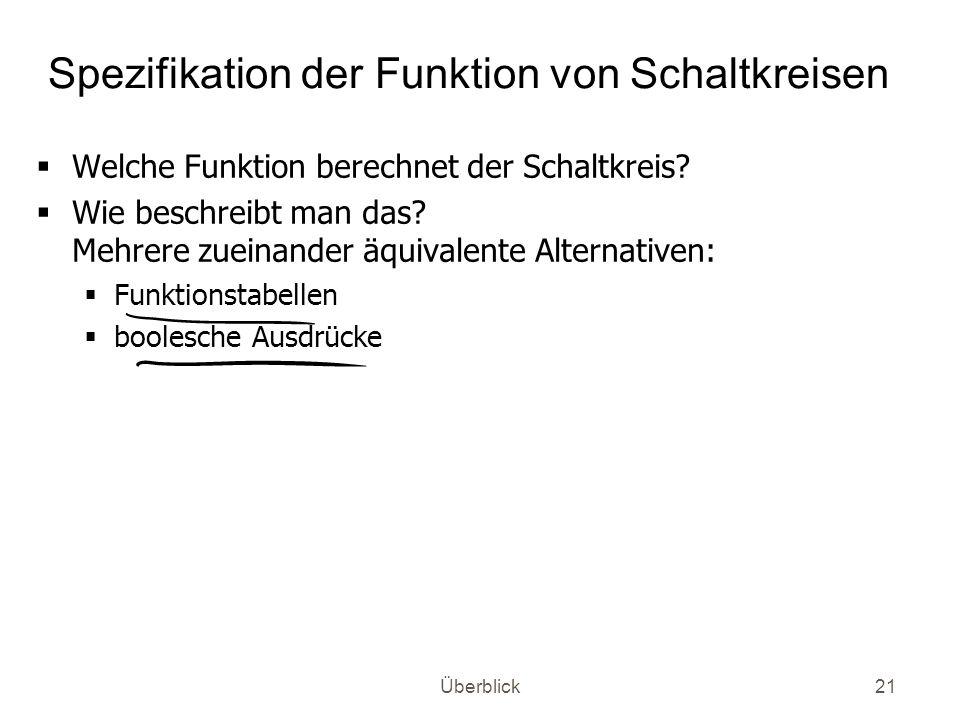 Überblick21 Spezifikation der Funktion von Schaltkreisen Welche Funktion berechnet der Schaltkreis? Wie beschreibt man das? Mehrere zueinander äquival
