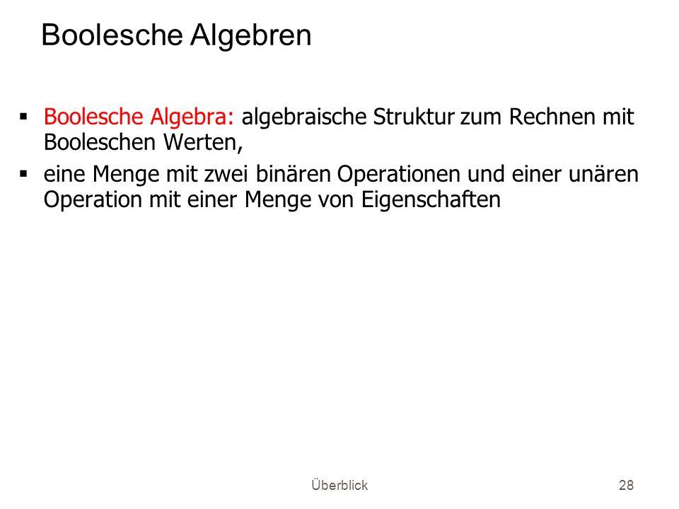 Überblick28 Boolesche Algebren Boolesche Algebra: algebraische Struktur zum Rechnen mit Booleschen Werten, eine Menge mit zwei binären Operationen und