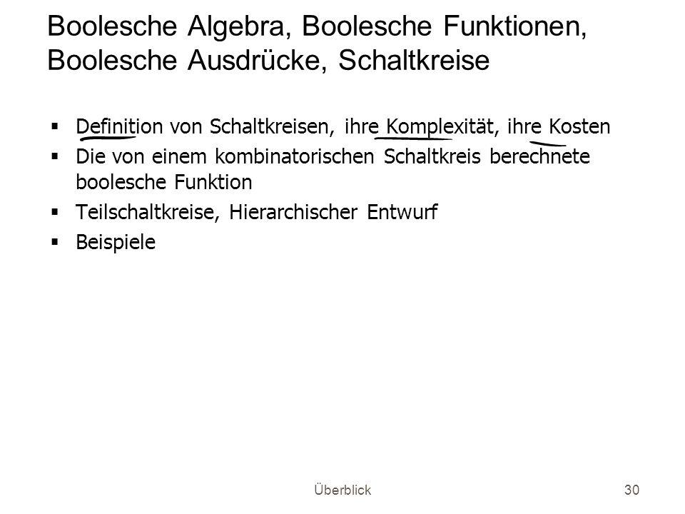 Überblick30 Boolesche Algebra, Boolesche Funktionen, Boolesche Ausdrücke, Schaltkreise Definition von Schaltkreisen, ihre Komplexität, ihre Kosten Die